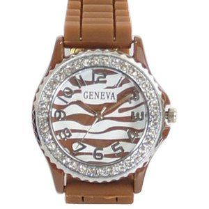 Geneva Chocolate Watch w/Zebra Print Face Dial